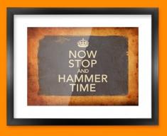 Keep Calm Vintage Hammer Time Framed Print