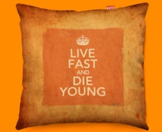 Keep Calm Vintage Live Fast Funky Sofa Cushion 45x45cm