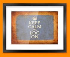 Keep Calm Vintage Log On Framed Print