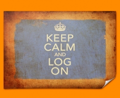 Keep Calm Vintage Log On Poster