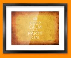 Keep Calm Vintage Party On Framed Print