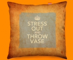 Keep Calm Vintage Stress Out Funky Sofa Cushion 45x45cm