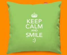 Keep Calm Smile Funky Sofa Cushion 45x45cm