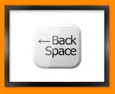 Keyboard Key Back Space White Framed Print