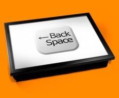 Key Back Space White Cushion Lap Tray