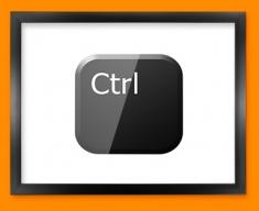 Keyboard Key Ctrl Black Framed Print