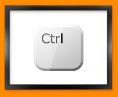 Keyboard Key Ctrl White Framed Print