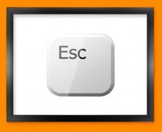 Keyboard Key Esc White Framed Print