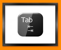 Keyboard Key Tab Black Framed Print