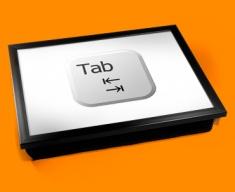 Key Tab White Cushion Lap Tray