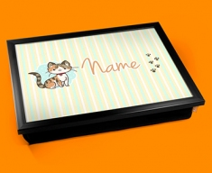 Kitty Personalised Childrens Name Cushion Lap Tray