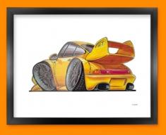 Porsche 911 GT Car Caricature Illustration Framed Print