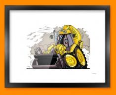 JCB Yellow Digger Car Caricature Illustration Framed Print