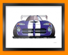 Chrysler Viper Front Car Caricature Illustration Framed Print