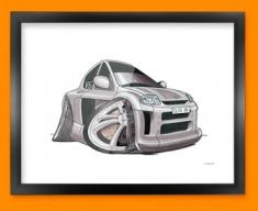 Renault Clio Car Caricature Illustration Framed Print
