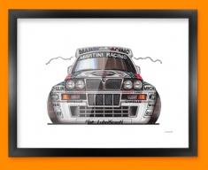 Lancia Intergrale Car Caricature Illustration Framed Print