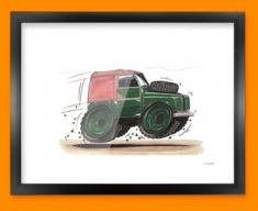 Land Rover Car Caricature Illustration Framed Print