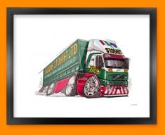Eddie Stobart Car Caricature Illustration Framed Print