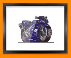 Yamaha R1 Motorbike Bike Caricature Illustration Framed Print