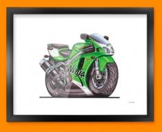 Kawasaki ZX7R Ninja Motorbike Bike Caricature Illustration Framed Print