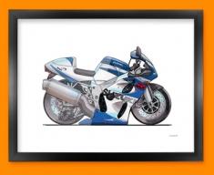 Suzuki Bike GSXR Car Caricature Illustration Framed Print
