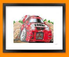 Mitsubishi Rally Car Caricature Illustration Framed Print