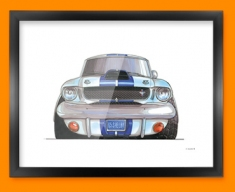 Ford Mustang Shelby Car Caricature Illustration Framed Print