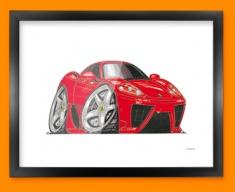 Ferrari Marinello Car Caricature Illustration Framed Print