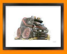 A Team Car Caricature Illustration Framed Print
