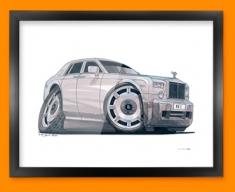 Rolls Royce Car Caricature Illustration Framed Print