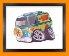 Mystery Machine Van Car Caricature Illustration Framed Print