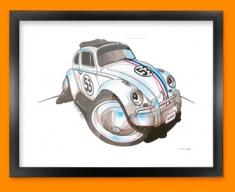 Herbie Beetle Car Caricature Illustration Framed Print