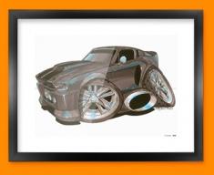 Ford Mustang Car Caricature Illustration Framed Print