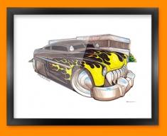 Lincoln Leadsled Car Caricature Illustration Framed Print