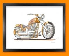 Harley Davidson Chopper Motorbike Bike Caricature Illustration Framed Print
