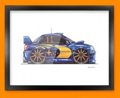 Subaru Rally Side Car Caricature Illustration Framed Print