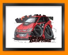 Mitsubishi EVO Car Caricature Illustration Framed Print