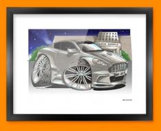 Aston Martin DBS Car Caricature Illustration Framed Print