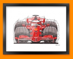 F1 Kimi Ferrari Car Caricature Illustration Framed Print