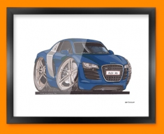 Audi R8 Car Caricature Illustration Framed Print