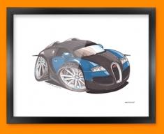 Bugatti Veyron Car Caricature Illustration Framed Print