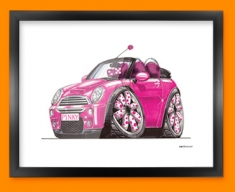 Mini Cooper Pink Car Caricature Illustration Framed Print