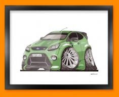 Ford Focus RS Car Caricature Illustration Framed Print