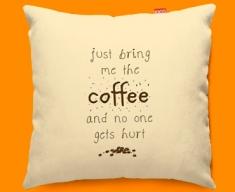 Bring the Coffee Typography Funky Sofa Cushion