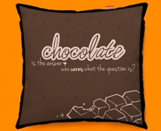 Chocolate Typography Funky Sofa Cushion