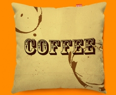 Coffee Rings Typography Funky Sofa Cushion