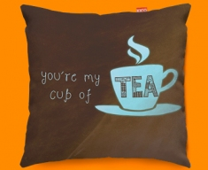 Cup of Tea Typography Funky Sofa Cushion