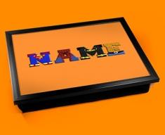Orange Superhero Personalised Childrens Name Cushion Lap Tray