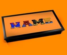 Orange Superhero Personalised Childrens Name Cushioned Laptop Lap Tray