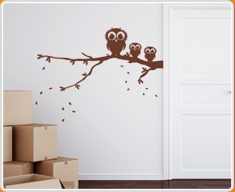 Owls on Branch Wall Sticker